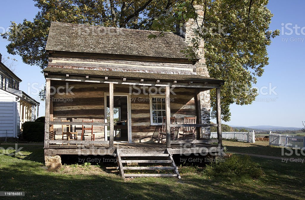 Wooden cabin in HDR royalty-free stock photo