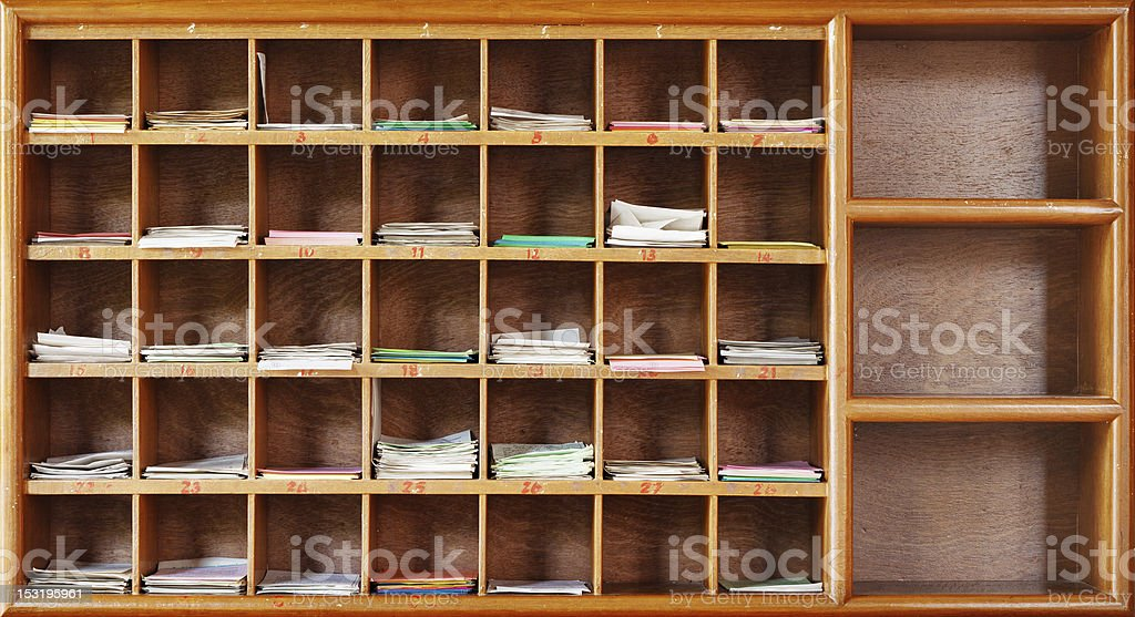 Wooden cabinet in interior of a Buddhist temple royalty-free stock photo