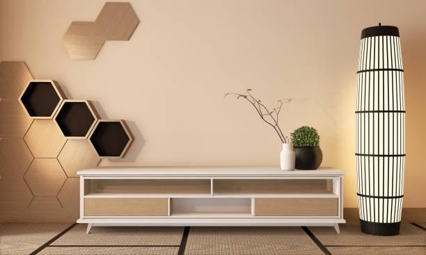 壁に木製六角形のタイルと畳の床室和風の木製キャビネットテレビ.3dレンダリング - 畳 ストックフォトと画像