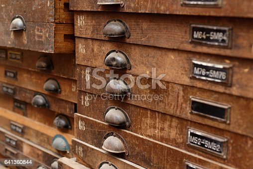 Wooden Cabinet With Drawers Stock Photo & More Pictures of Antique