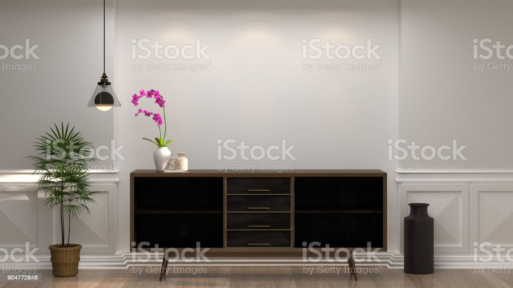 wooden cabinet with lamp in front of empty white wall decorative items minimal style in empty room vintage style,3d rendering luxury living room modern mid century room interior home design stock photo