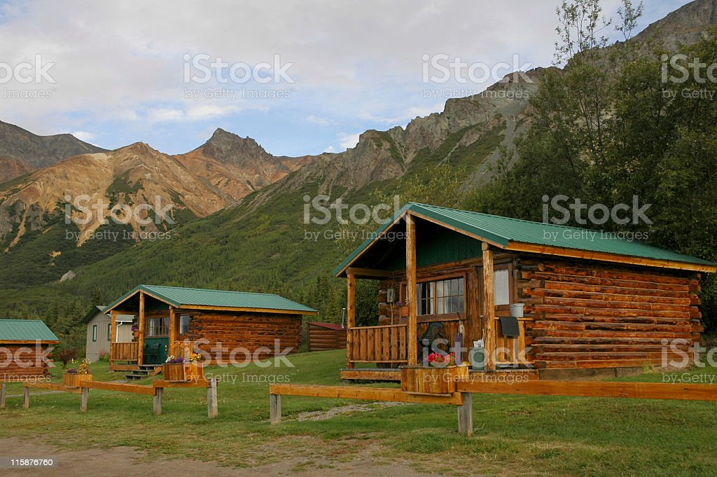 Wooden cabins in Alaska royalty-free stock photo