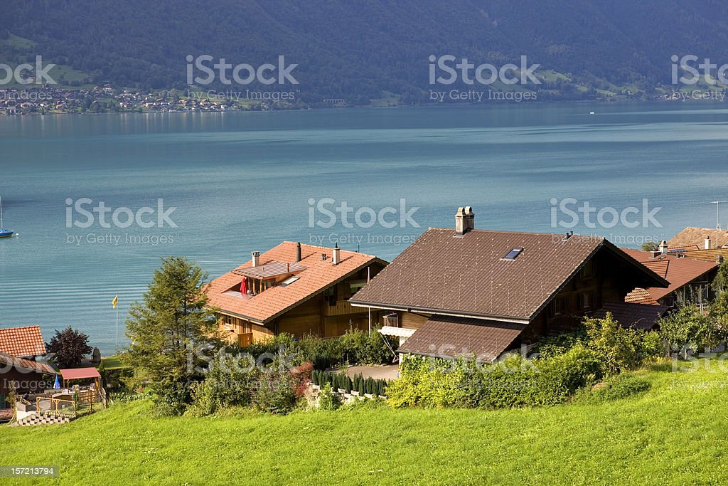wooden cabins stock photo