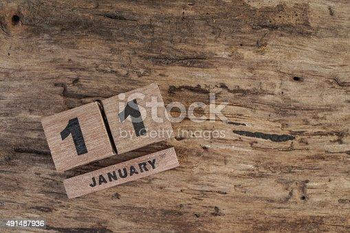 istock wooden calendar for january 491487936
