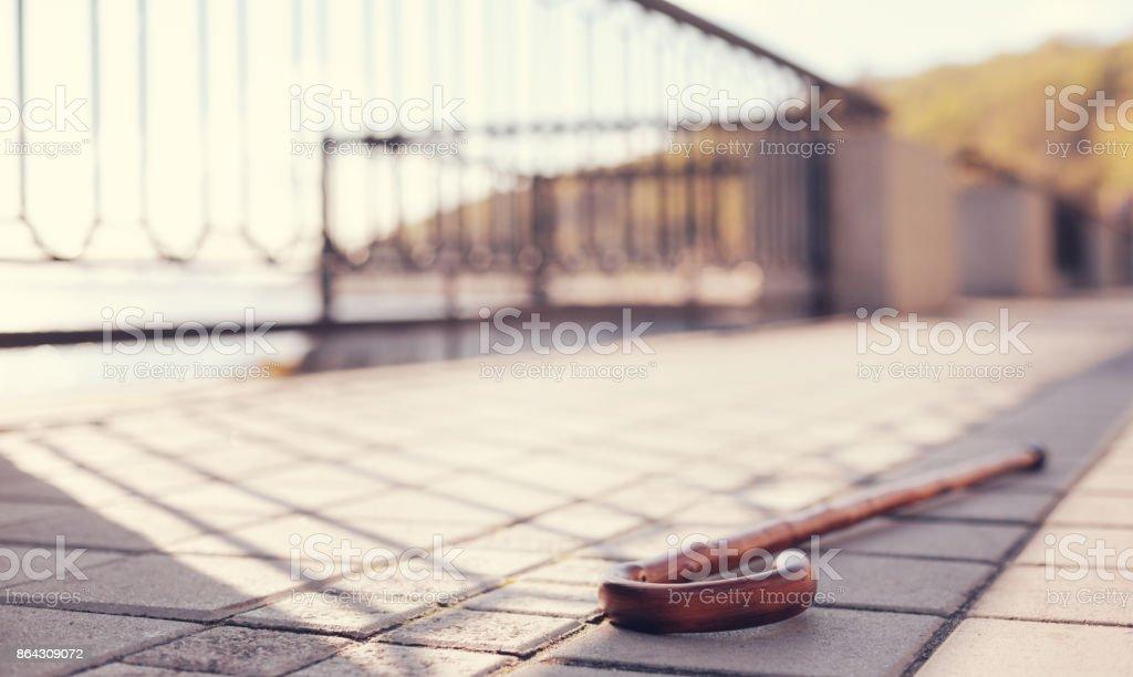 Caña madera acostado pavimentado banqueta - foto de stock