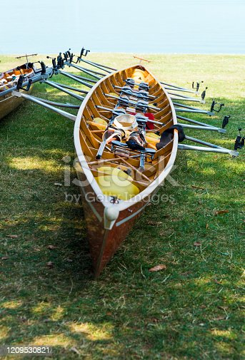 Wooden canoe near the lake in Canton of Zug, Switzerland