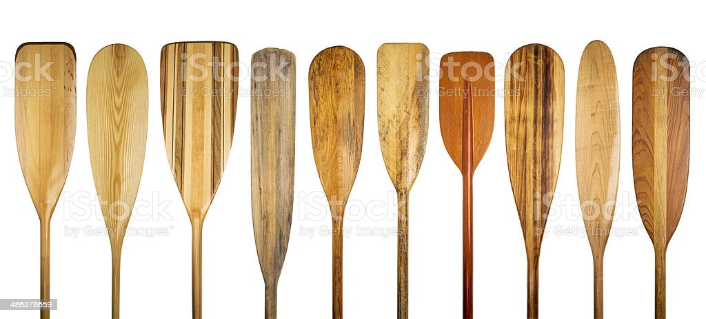 wooden canoe paddles stock photo