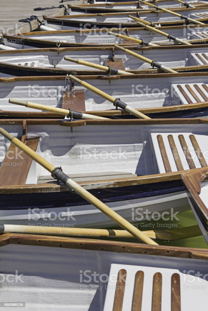 Wooden canoes stock photo