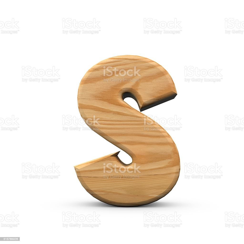 Wooden Capital letter S stock photo