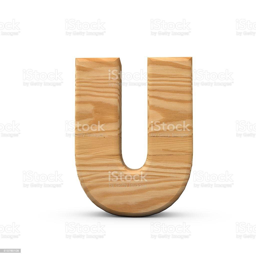 Wooden Capital letter U stock photo