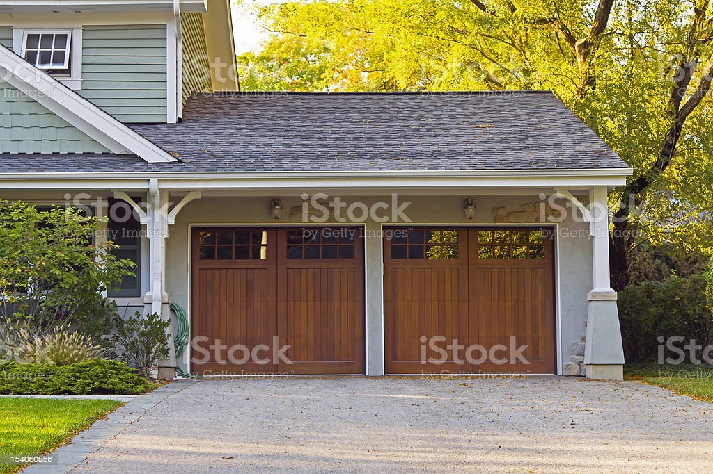Wooden car garage stock photo