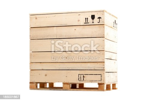 closed wooden crate isolated on white