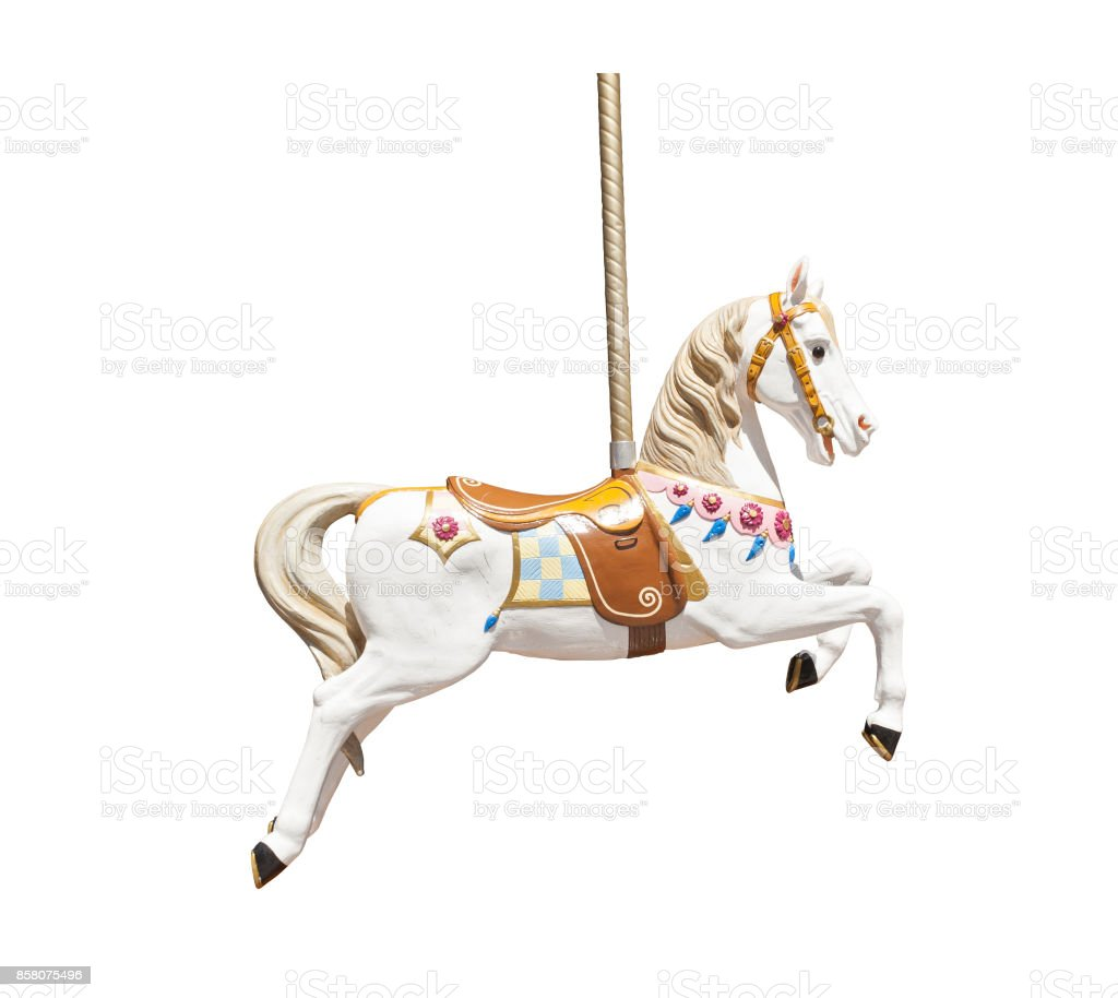 Wooden carousel horse isolated stock photo