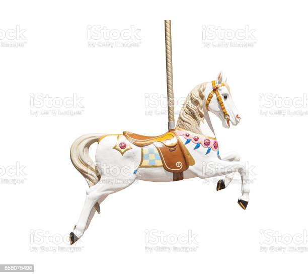 Photo of Wooden carousel horse isolated