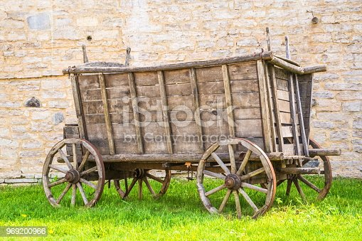 Ancient wooden cart, wagon