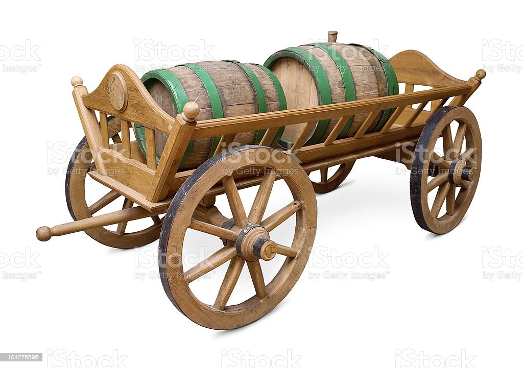 Wooden cart with two wine barrel royalty-free stock photo