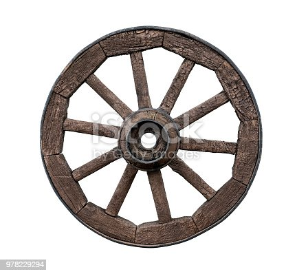 Old wooden wagon wheel isolated on white background