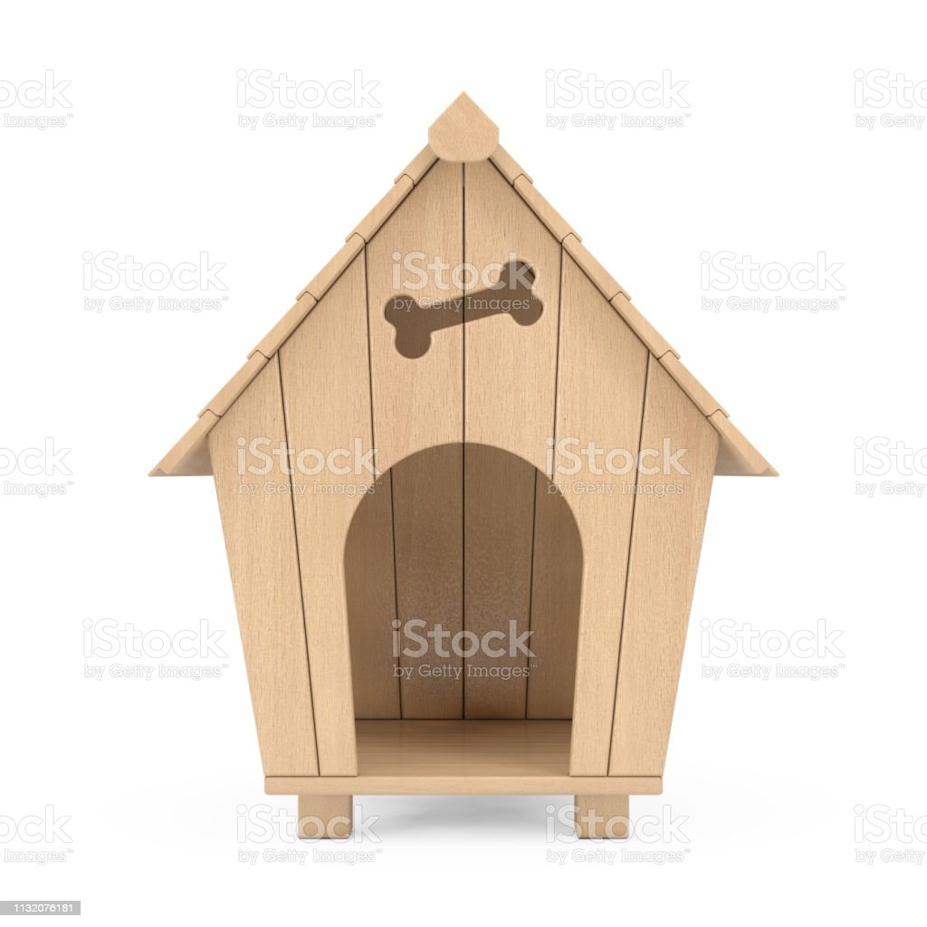 Wooden Cartoon Dog House 3d Rendering Stock Photo - Download