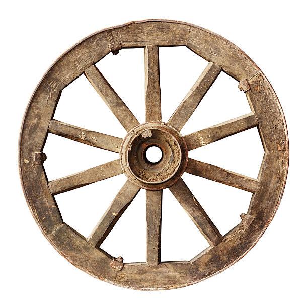 Wooden cartwheel stock photo