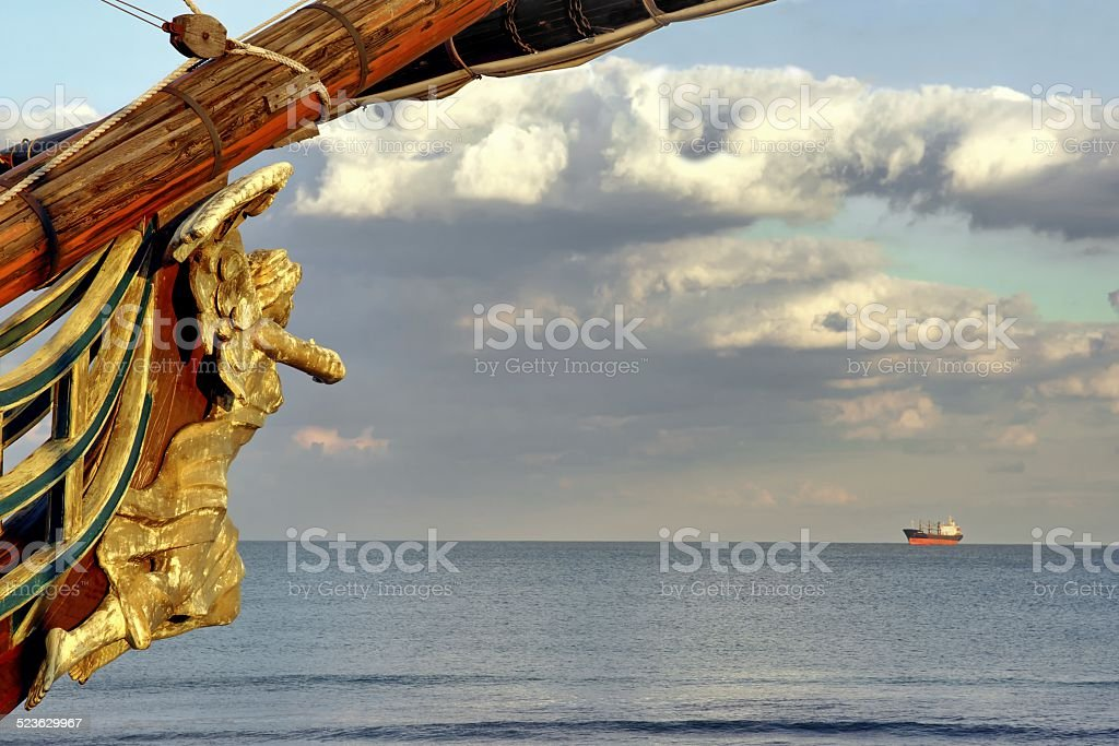 Wooden Carved Figurehead found at the Prow of Old Ship stock photo