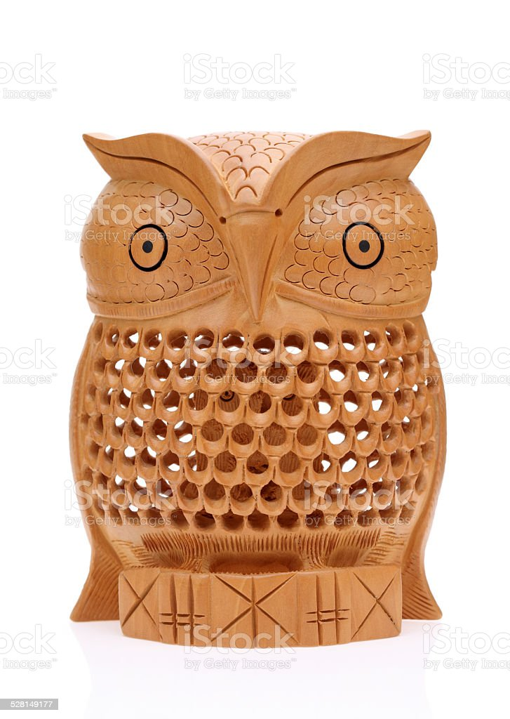 Wooden carved owl stock photo