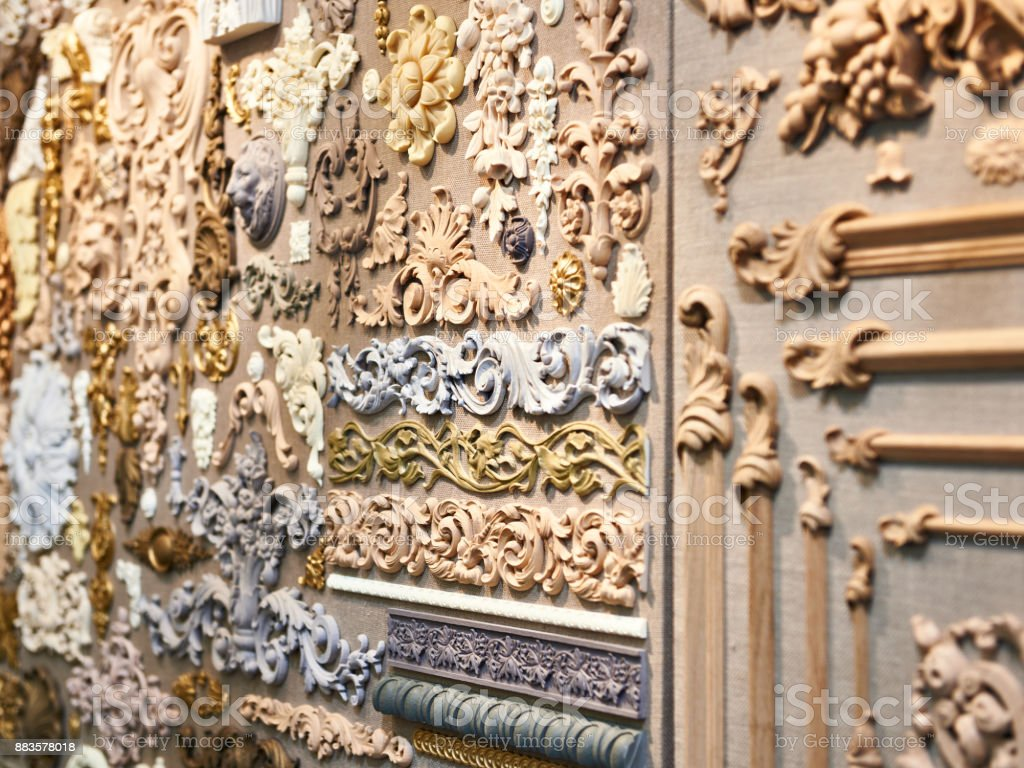 Wooden carved patterns for interior decoration stock photo & more