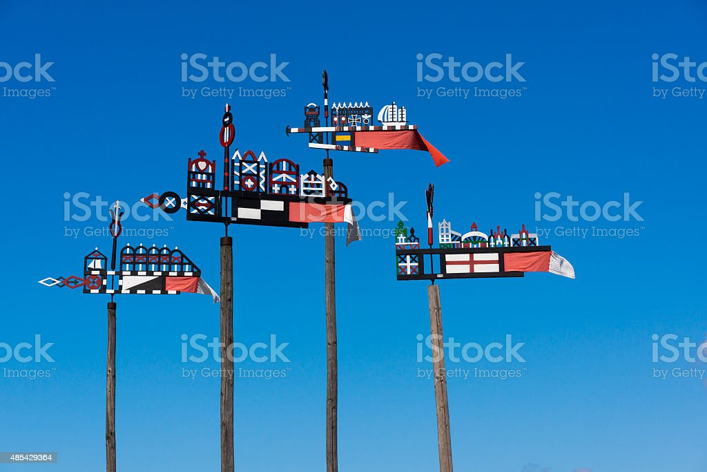 Wooden carved weather vane stock photo