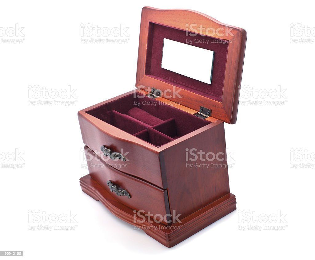 Wooden casket for jewelry royalty-free stock photo