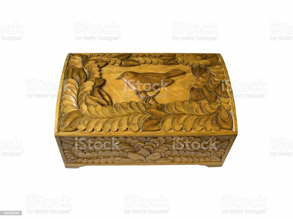 Wooden casket with a carved ornament royalty-free stock photo
