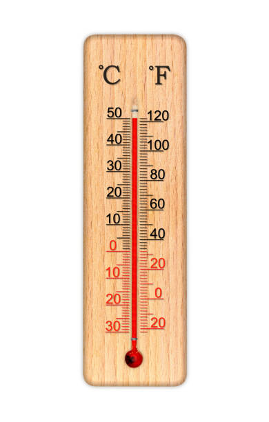 Wooden celsius and fahrenheit scale thermometer for measuring air temperature. Thermometer isolated on white background. Air temperature plus 50 degrees celsius stock photo