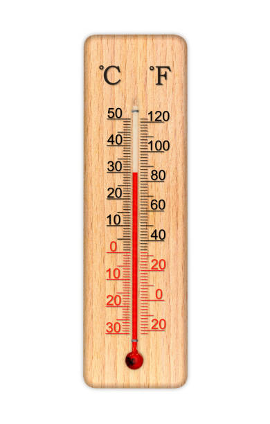 Wooden celsius and fahrenheit scale thermometer for measuring air temperature. Thermometer isolated on white background. Air temperature plus 30 degrees celsius stock photo