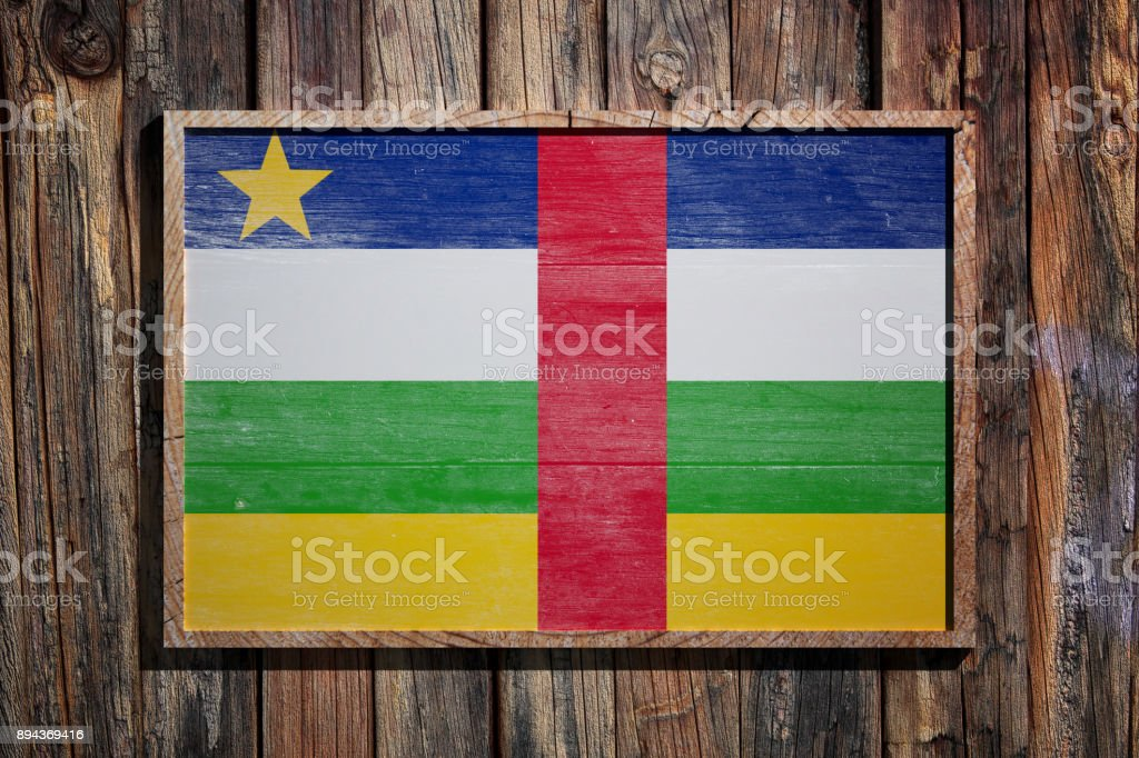 Wooden Central African Republic flag stock photo