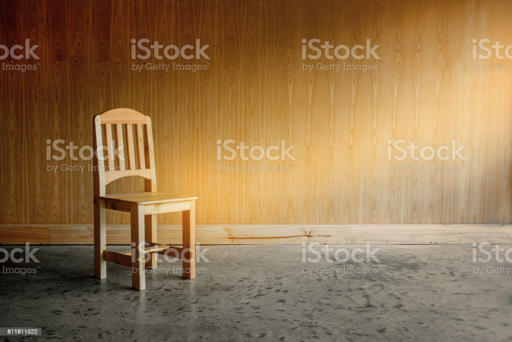 wooden chair alone stock photo