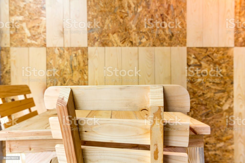 Wooden chair backrest stock photo