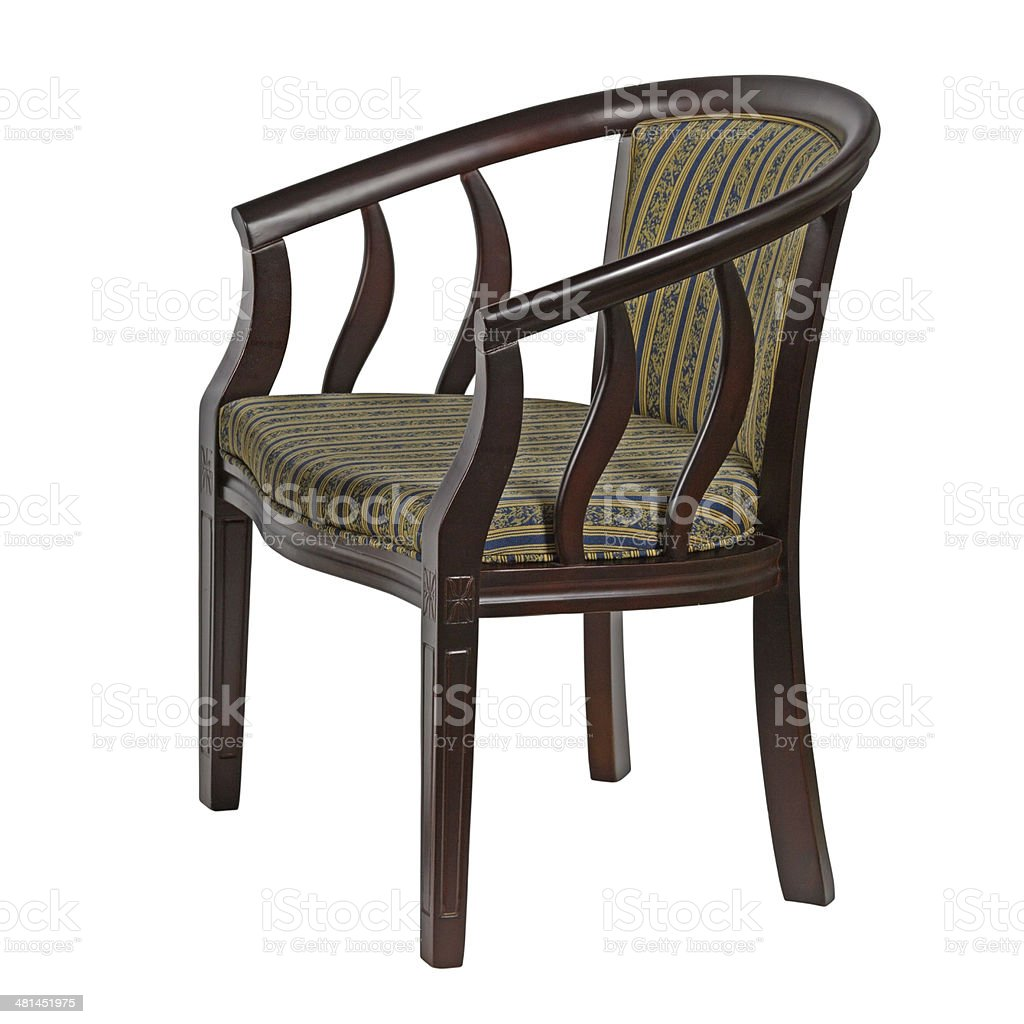 wooden chair, isolated on white background stock photo