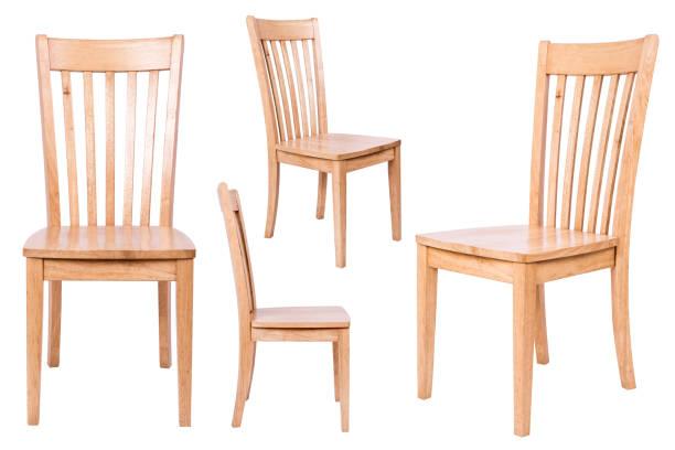 drewniane krzesło odizolowane na białym tle - krzesło zdjęcia i obrazy z banku zdjęć