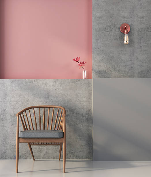 Wooden  chair on the background of a geometric wall stock photo