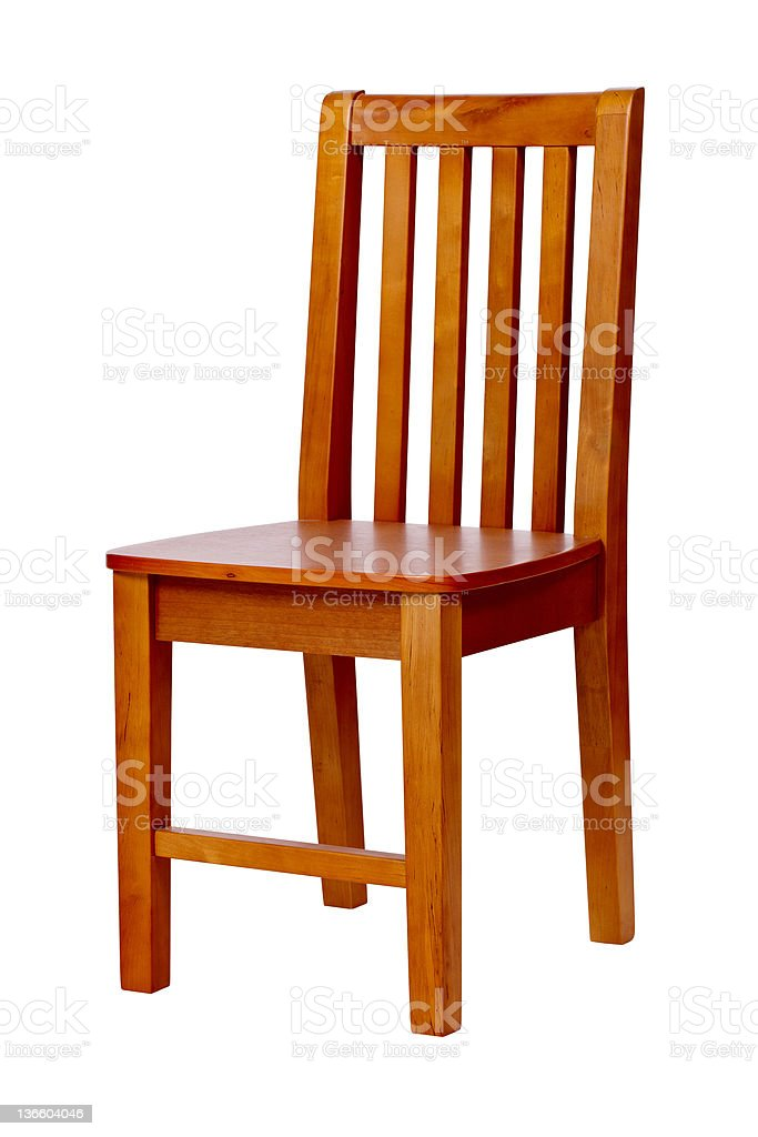 Wooden chair over white, with clipping path royalty-free stock photo
