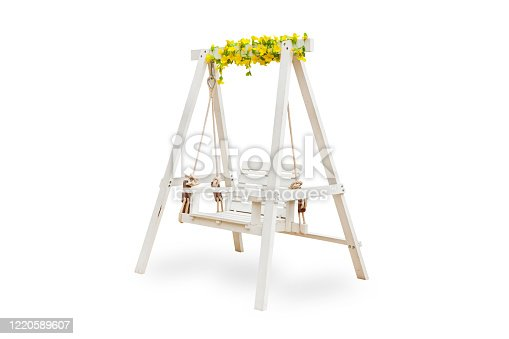 Wooden chair swing isolate on white background