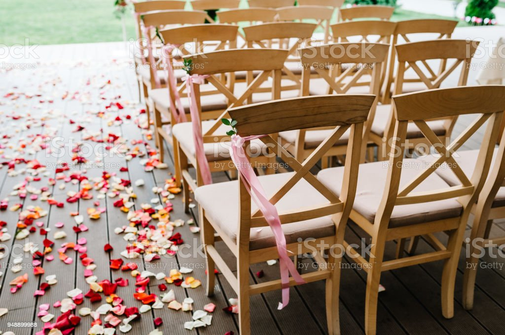 Wooden chairs are decorated with pink bow, ribbons and greens in the backyard banquet area. Wedding ceremony. Roses petals scattered on the road. wedding decor. Side view and rear view. stock photo