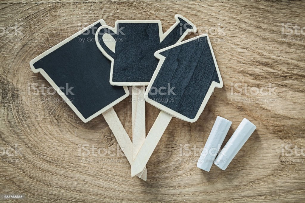 Wooden chalkboards price sign tag on wood board gardening concep royalty free stockfoto
