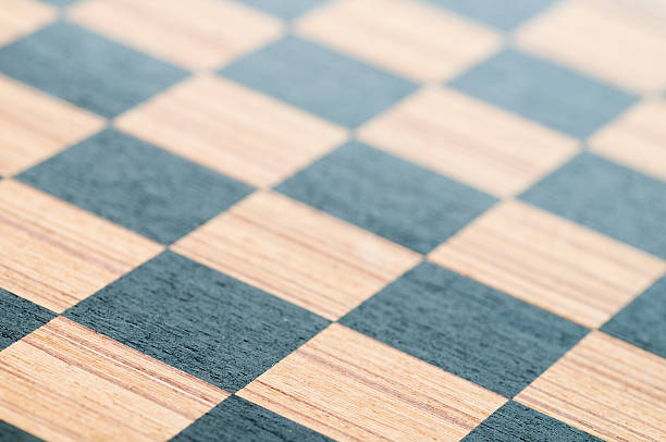 Wooden chess board stock photo
