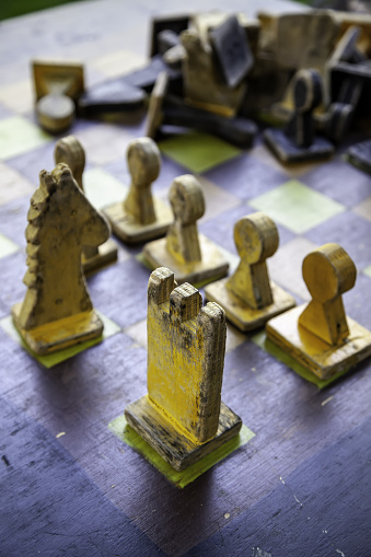 Antique wooden chess, logic and wit games