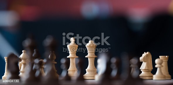 Wooden chess pieces on a chessboards