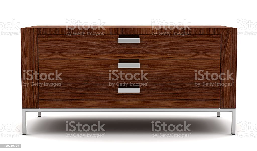wooden chest of drawers isolated on white background stock photo