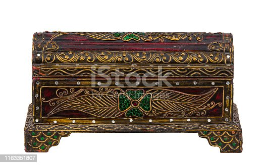 istock Wooden chest of thai art isolated with white background 1163351807