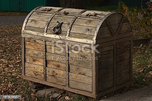 istock wooden chest with decorative handle in the form of a lynx head 1278295571