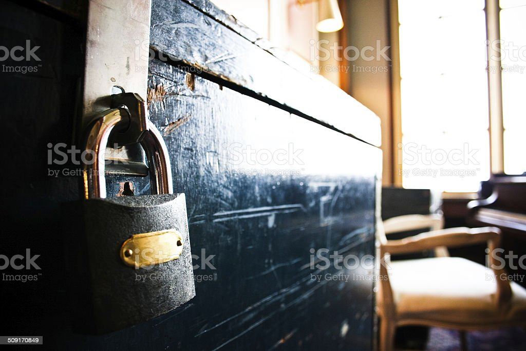 Wooden Chest with Lock stock photo