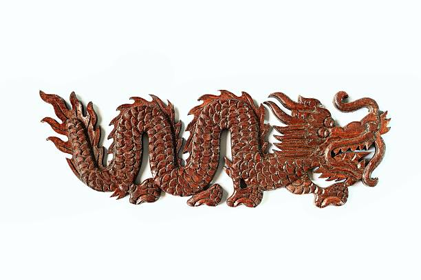 Wooden chinese dragon stock photo