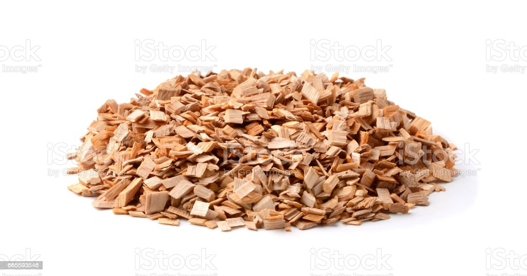 Wooden chips for smoking  isolated on white stock photo